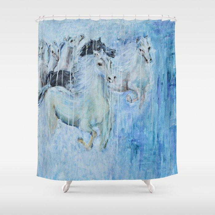 Spirit Horses Shower Curtain By Evamariaalbrechthoedeman
