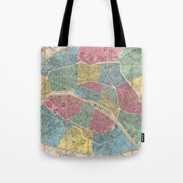 Vintage Map of Paris France (1863) Tote Bag