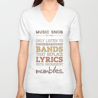 bands V-neck T-shirts featuring Mumbling Bands — Music Snob Tip #095 by Elizabeth Owens
