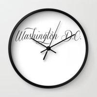 dc Wall Clocks featuring Washington DC by KatieKatherine