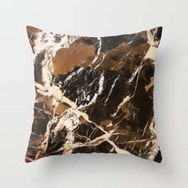 Sienna Brown and Black Marble With Creamy Veins Throw Pillow