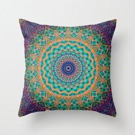 Travel Into Dimensions Mandala. Throw Pillow
