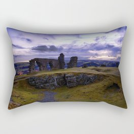 Crow Crag Castle at dusk Rectangular Pillow
