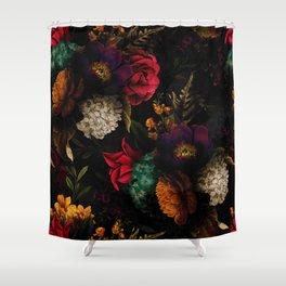Midnight Hours Dark Vintage Flowers Garden Shower Curtain