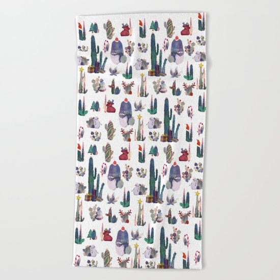CACTUS CHRISTMAS!!!  Beach Towel