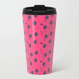 Modern neon pink purple paint splatters polka dots Travel Mug