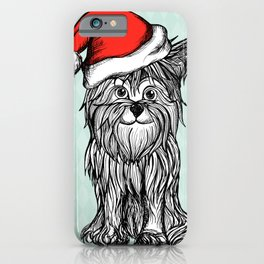 Christmas Dog In Santa Clause Hat iPhone Case