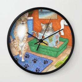 Cat in litter Wall Clock