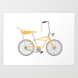 Typographical Anatomy of a Dragster Bike Art Print