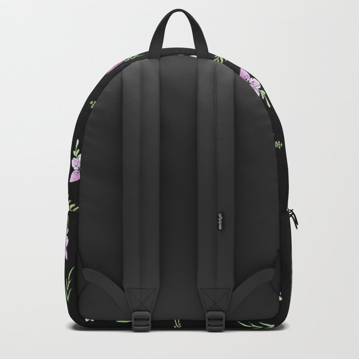 Seamless watercolor small flowers pattern on black Backpack