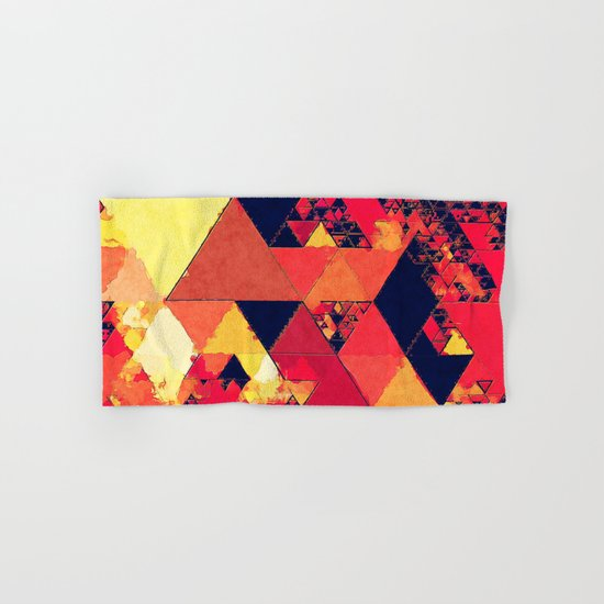 Pure fire- Red yellow black abstract Triangle pattern- Watercolor Illustration Hand & Bath Towel