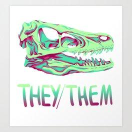 Velociraptor Skull Art Print