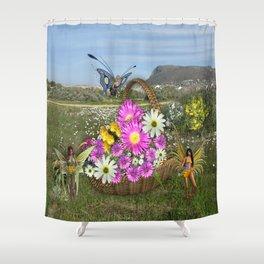 Spring basket gatherers Shower Curtain