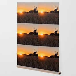 North German windmill from old time in the sunset Wallpaper