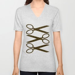 Golden Brown Scissor Stripes Unisex V-Neck
