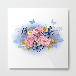 Three Pink Roses with Butterflies Metal Print