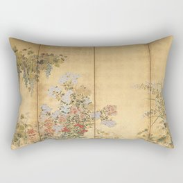 Japanese Edo Period Six-Panel Gold Leaf Screen - Spring and Autumn Flowers Rectangular Pillow