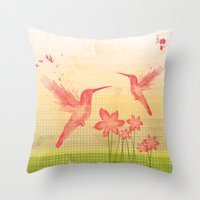 hummingbird Throw Pillows featuring Hummingbird by Kakel