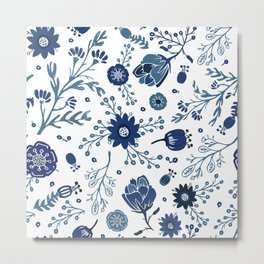 Blue China Flowers Metal Print