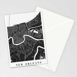 New Orleans Louisiana Minimal Black Mono Street Map  Stationery Cards