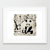 pandas Framed Art Prints featuring Pandas by Michelle Scott