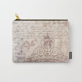 Vintage rustic ivory brown floral collage typography Carry-All Pouch