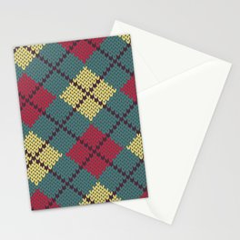 Faux Retro Argyle Knit Stationery Cards