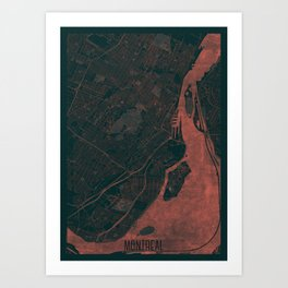 Montreal Map Red Art Print