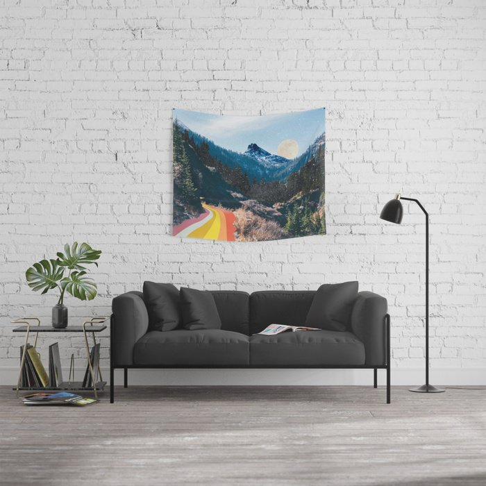 1960's Style Mountain Collage Tapestry by Justine Henderson Editions