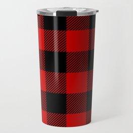 Red Lumberjack Pattern Travel Mug
