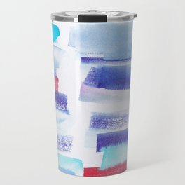 2  | 181101 Watercolour Palette Abstract Art | Lines | Stripes | Travel Mug