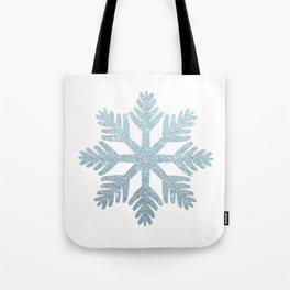 Blue Glitter Snowflake Tote Bag
