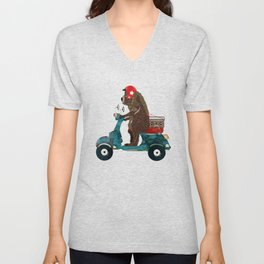 scooter bear Unisex V-Neck