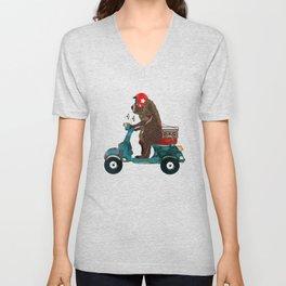 scooter bear Unisex V-Neck