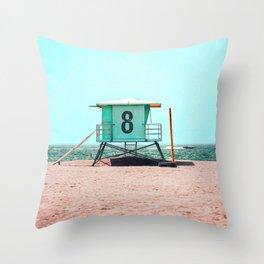 California Lifeguard Tower Throw Pillow