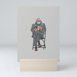Bernie in Mittens-gray Mini Art Print