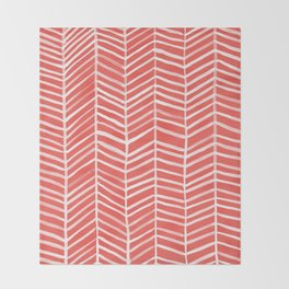 Coral Herringbone Throw Blanket