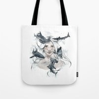 sharks Tote Bags featuring Sharks by Clunaillustration
