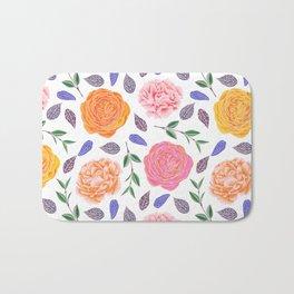 Modern pink yellow orange watercolor leaves floral Bath Mat