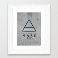 30 seconds to mars Framed Art Prints featuring 30 Seconds to Mars - stencil on brick wall by sky0323