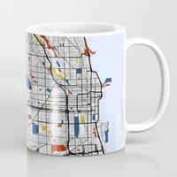 chicago map Mugs featuring Chicago by Mondrian Maps