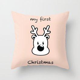 my first xmas pastel pink Throw Pillow