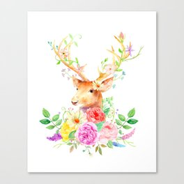 Watercolor Deer and Rose Bouquet Canvas Print