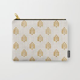 block print palm in golden on natural Carry-All Pouch