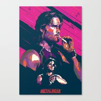 metal gear Canvas Prints featuring ESCAPE FROM METAL GEAR by mergedvisible