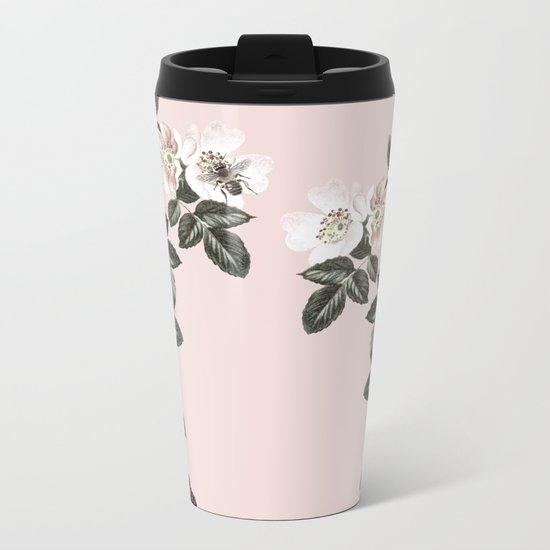 Bees + Blackberries on Pale Pink Metal Travel Mug