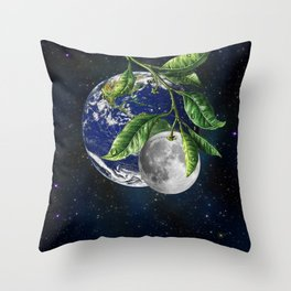 Full moon and Earth Throw Pillow