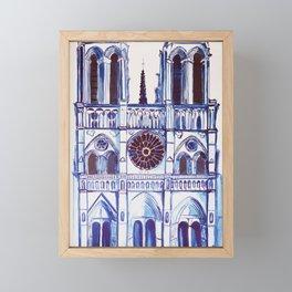 Notre Dame de Paris, cathedral, illustration Framed Mini Art Print