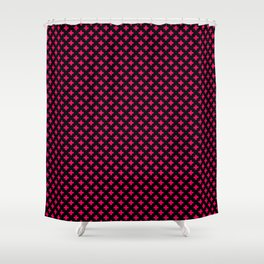 Small Hot Neon Pink Crosses on Black Shower Curtain