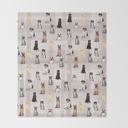 Sit, Smile Large Dogs in Taupe Throw Blanket